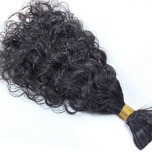 Brazilian Virgin Human Braiding Hair Wet and Wavy Curly Bulk Hair one Piece/100g (12inch, Color 1#)
