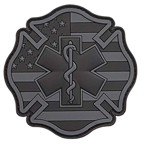 2AFTER1 Blackout EMS EMT Fire Fighter Department USA American Flag Rescue Firemen Medic Morale PVC Touch Fastener Patch