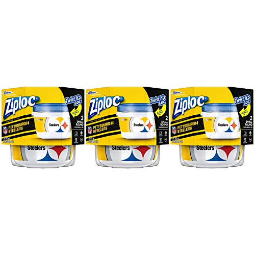 Ziploc Food Storage Meal Prep Containers, Small, 2 Count, Pack of 3 (6 Total Containers), Twist N Loc- NFL Pittsburgh Steelers
