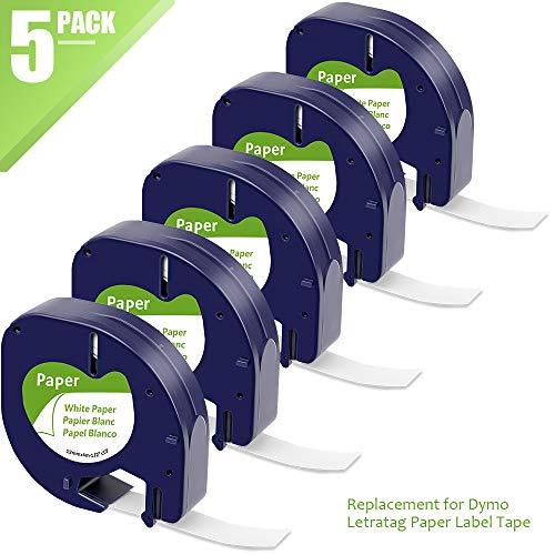 MarkFieldKompatible Etiketten als Ersatz für Dymo LetraTag Etikettenband Paper White 12mm x 4m, Dymo Papier Schriftband 10697 91220 für Letratag LT-100H LT-100T LT-100T XR XM 2000, Schwarz auf Weiß