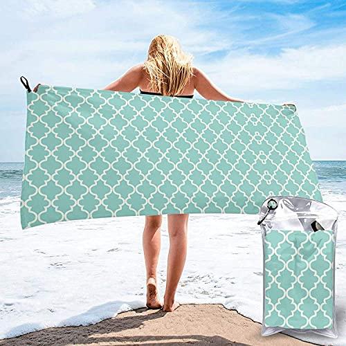 Toalla de baño Azul Quatrefoil, Toalla de Playa, Uso Multiusos para Deportes, Viajes, súper Absorbente, Microfibra de Secado rápido Suave, liviana-31.5 'x63