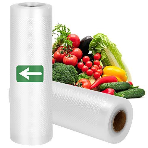 Vakuumrollen 2 Rollen Vakuumierfolie - Profi Vakuumbeutel für Vakuumierer & Lebensmittel Vakuumiergerät, BPA-frei, Kochfest Gefrierbeutel