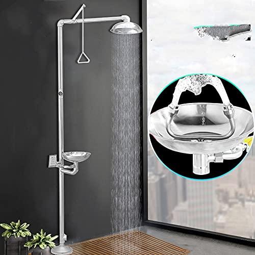 LOPIXUOGrifo de ducha de emergencia con lavaojos, limpiador de suelo, ducha de lluvia, grifo de ducha vertical, lavaojos, 1