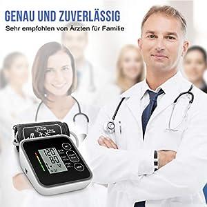 CAZON Oberarm-Blutdruckmessgeräte Digital Vollautomatisch Blutdruckmessgerät Pulsmessung Blutdruckmessung Großes LCD Display mit Große Manschette 2x120 Dual-User-Modus (Schwarz)