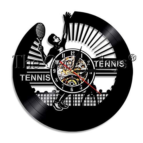 wwwff 1Pezzo / i Gioca a Tennis Tema Orologio da Parete in Vinile Orologio da Parete Design Moderno Decorazioni per la casa Orologio da Parete Orologio da Uomo Regalo Sportivo per Tennis