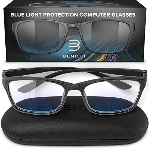 Stylish Blue Light Blocking Glasses for Women or Men  Ease Computer and Digital Eye Strain Dry Eyes Headaches and Blurry Vision  Instantly Blocks Glare from Computers and Phone Screens w/Case