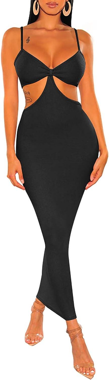 Womens Sexy Cut Out Midi Long Dress Spaghetti Strap Bra Bikini Top Bodycon Bandage Club Party Cocktail Maxi Dresses