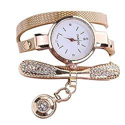 Beige Leather Rhinestone Analog Quartz Wrist Watch