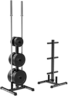 Yaheetech 2 inch Barbell Plate and Dumbbell Racks Tree Olympic Plate Rack Weight Bumper Plate Holder w/ 2 Bar Holder Holds