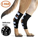 NeoAlly Dog Hind Leg Brace [Long Version] Canine Rear Leg Support with Safety Reflective Straps for Joint Injury, Sprain Protection, Wound Healing and Loss of Stability from Arthritis (Black M Pair)