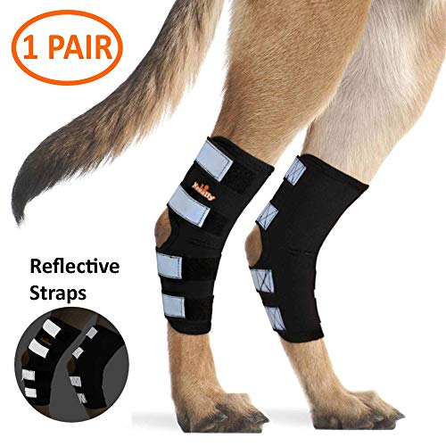 NeoAlly Dog Rear Leg Braces [Pair] Canine Hind Hock Wraps with Safety Reflective Straps for Joint...