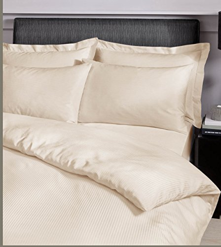 Catherine Lansfield Satin Stripe 300 Thread Count King Duvet Set Cream