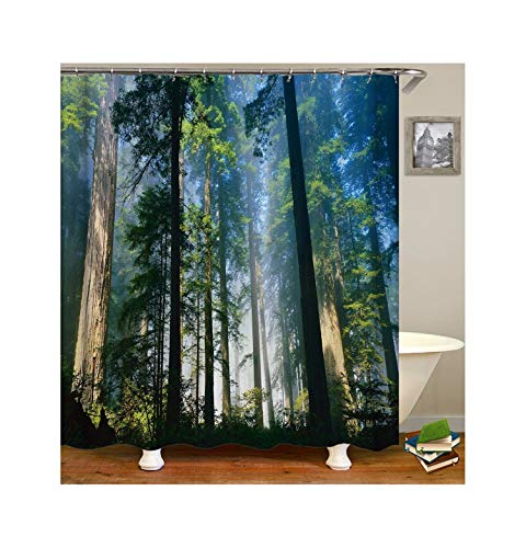 Epinki Polyester Badewanne Vorhang Wald Muster Duschvorhang Mehrfarbig für Badewanne 90x180CM
