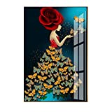 N / A Modern Style Hand-Painted Character Colorful Flowers Feather Woman Abstract Girl Canvas Print Poster Living Room Frameless 40X60CM