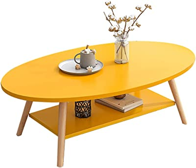 Modern High Gloss Coffee Table, Modern Wood Look Coffee Table with Double-Layer Storage Board   Modern Coffee Table for Living Room, Office, Balcony,Brown,Round