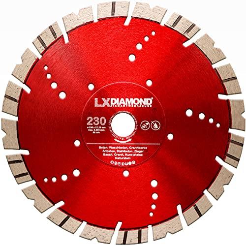 LXDIAMOND Diamant-Trennscheibe 230mm x 22,23mm Segment 15mm geeignet für Hartgestein Kunststeine Stein Ziegel Granit Granitborde Stahlbeton Naturstein Beton Diamantscheibe 230 mm - in Premium Qualität