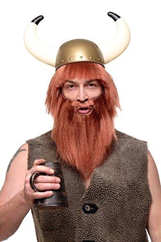 WIG ME UP- RJ007-P130 Peluca con Barba Carnaval barbaro Vikingo pelirojo-marrn
