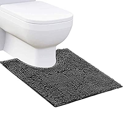 """Chenille Bathroom Rug Rectangle Mat 1 Piece, Extra Soft and Absorbent Shaggy Rugs Perfect Plush Carpet Mats for Tub, Shower, and Bath Room (20""""x20"""" U Shape, Dark Grey)"""