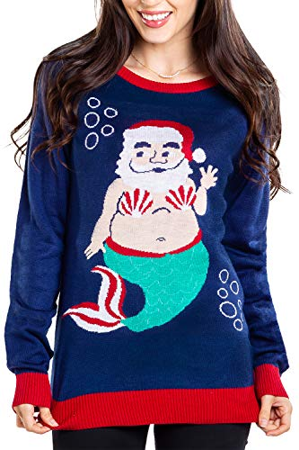 Tipsy Elves Women's Mermaid Santa Claus Ugly Christmas Sweater - Funny Underwater Blue Winter Holiday Pullover Size: Large