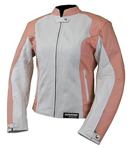 Karno-Motorsport Kc034 - Chaqueta de moto para mujer, piel microperforada, color blanco y rosa