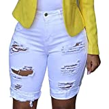 Onegirl Womens High Waisted Shorts Jeans Casual Ripped Jeans Destroyed Skinny Distressed Trouser Plus Size Fitted Denim Pants White