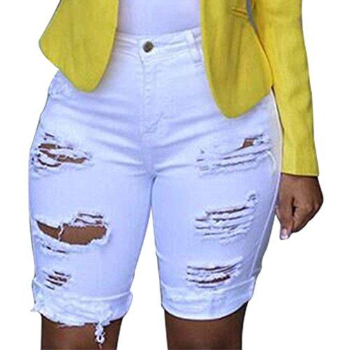 Women Elastic Destroyed Hole Leggings Short Pants Denim Shorts Ripped Jeans