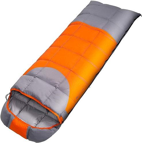 AOKASIX Camping Sac de Couchage, imperméable OverTaille Adulte Sac de Couchage pour 4 Saisons de Voyage, Camping, randonnée, activités de Plein air,Orange,1.7kg