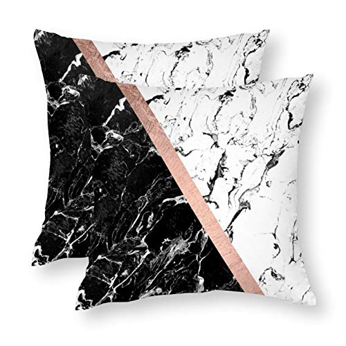 Set of 2 Square 18X18 inch Throw Pillow Cover for Women/Men, Short Plush Pillow Case Cushion Cover for Home Sofa Couch Living Room Car Decor - Chic Black White Marble Block Rose Gold
