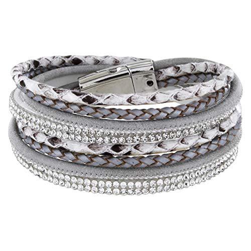 StarAppeal Armband Wickelarmband mit Strass und Flechtelement, Magnetverschluss Silber Glanz, Damen Armband (Hellgrau)