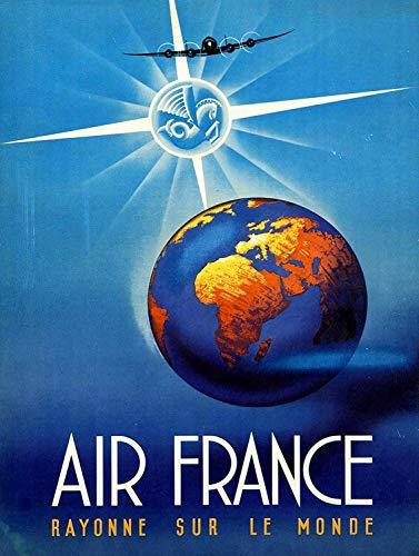 Hslly Air France Étain Mural Signe Vintage Métal Mur Affiche Rétro Plaque Décorative Panneau pour Café Bar Film Cadeau Mariage Anniversaire
