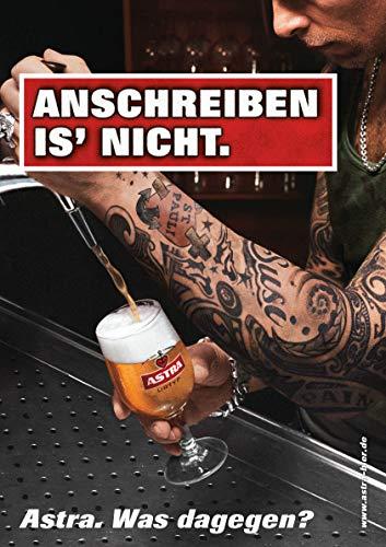 ASTRA Bier Werbung/Reklame Plakat DIN A1 59,4 x 84,1cm Anschreiben is'nicht, kultiges Poster aus St. Pauli
