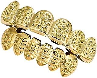 Prettyia 18K Halloween Open Face Grills Tooth Top & Bottom Teeth Hip Hop Grills for Women Men Hollowen Party Hip Hop Jewelry