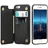 iPhone6ケース iPhone6sケース カード収納 レザーケース ICカード収納 軽量 スタンド機能 耐衝撃 滑り防止 高級PUレザー 多機能スマホケース 携帯カバー アイフォン6アイフォン6sケース通用 4.7インチ(ブラック)