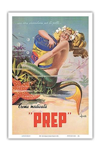 Pacifica Island Art - Glückliche Meerjungfrau - PREP Hautcreme - Retro Werbeplakat von Erasmo Ferrante c.1950s - Kunstdruck 31 x 46 cm