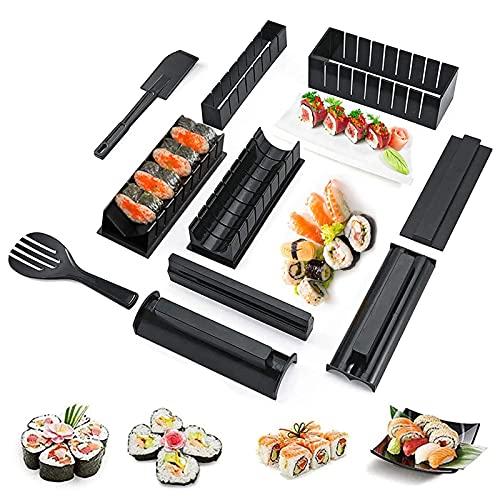 10Pcs Kit para Hacer Sushi,8 Formas Sushi Maker Kit,Kit de Fabricación de Sushi,Juego Completo de Sushi,Kit de Sushi Principiante,Kit de Sushi para Hacer en Casa