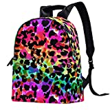 Mochila de piel para la escuela, universidad, viajes, oficina, portátil, para mujer y hombre, estampado de leopardo colorido