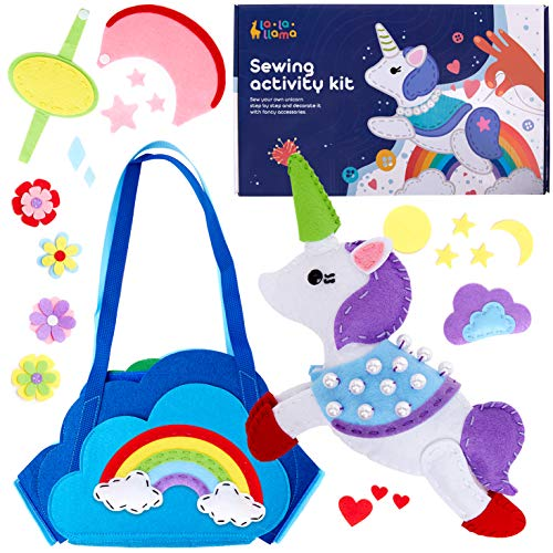 Sewing Kit for Kids - Learn to Sew Your Own Unicorn Toy with Accessories - Arts & Crafts Gift for Girls Ages 7 8 9 10 11 12 - Fun Beginner Craft Kits with Instructions and Sewing Supplies
