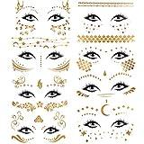 konsait 8 fogli face tatuaggio adesivo metallico tatuaggio temporaneo falso impermeabile viso flash tatuaggio per adulti donne bambini