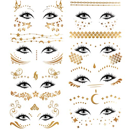 Konsait 8 Sheets Face Tattoo Sticker Metallic Temporary Transfer Tattoo Waterproof Face Jewels for Women Girls Make Up Dancer Costume Parties, Shimmer Glitter Gold Tattoos,Scale Tears Butterfly Freckl 1