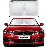 Magnelex Windshield Sunshade with Bonus Steering Wheel Sun Shade. 210T Reflective Polyester Blocks Heat and Sun. Foldable Sun Shield Keeps Your Vehicle Cool (Medium 59 x 31 in)
