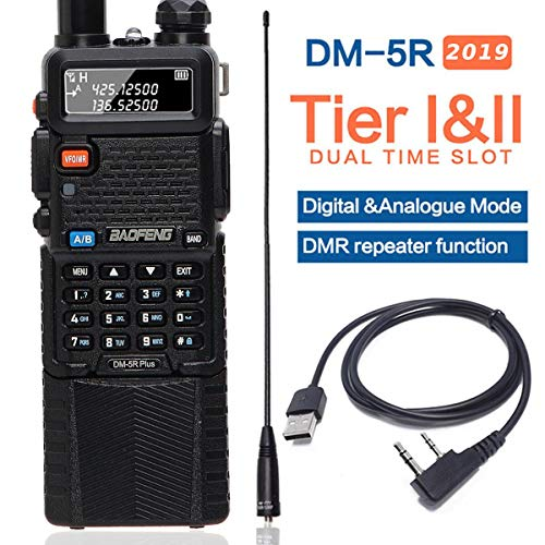 BaoFeng DM-5R Plus DMR Dual Band (136-174MHz VHF & 400-480MHz UHF) Dual Time Slot Digital (DMR and Analog) Two-Way Radio Compatible with MOTOTRBO with A USB Programming Cable and 771Antenna