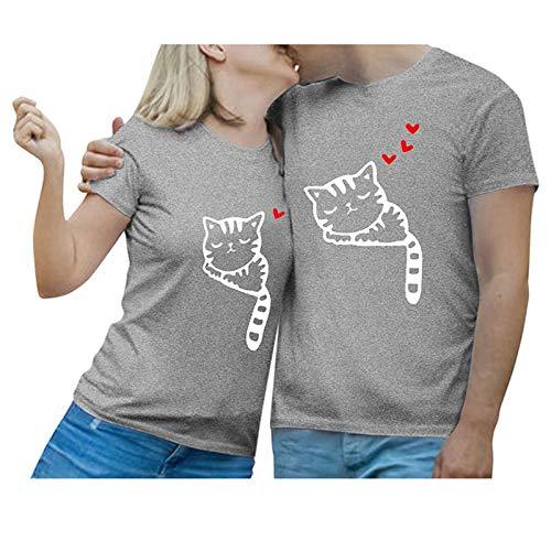 Whyeasy Parejas Camiseta de Manga Corta para Mujer o Hombre, Camiseta con Estampado de Gato Dibujos Animados, Regalos de San Valentín