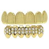 oshhni Dentes de Grelha de Latão Elegantes Dentes Brilhantes de Hip-hop Na Parte E Inferior Da Grelha Dentária - Ouro