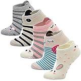 LOFIR Calcetines Divertidos de Algodón para Niñas Calcetines con Dibujos de Animal Perro Gato, Calcetines Vistosos, Calcetines Novedad para Niños de 8 a 11 Años, Tamaño 31-34, 5 pares