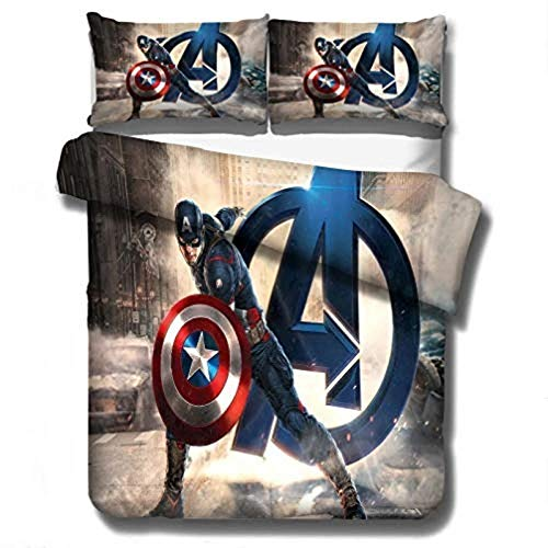 WTTING The Avengers 3D Design Duvet Cover and Pillowcase Bedding Set, Microfibre, Zip, for Children and Teenagers (T, Single 135 x 200 cm)