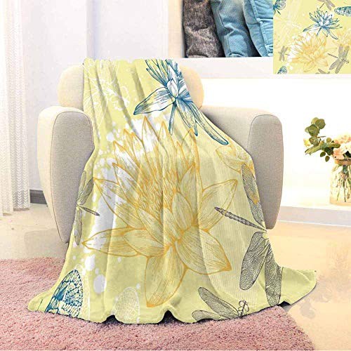 EDZEL Elegant and Comfortable Blanket Personalized Blankets Throw Size Yellow White Petrol Blue Plush Microfiber Blanket Home Decorative Holiday Blankets