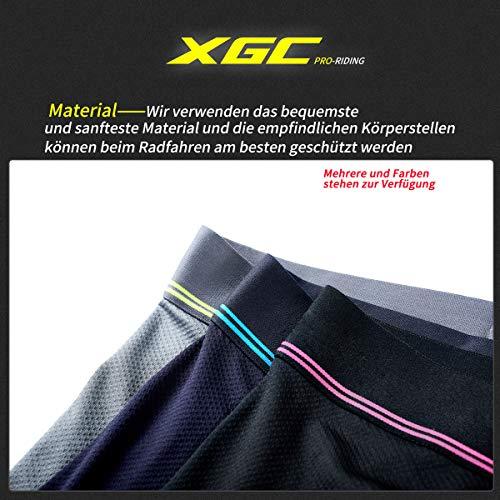 XGC Damen Radunterhose Radsportshorts Fahrradhosen mit elastische atmungsaktive 4D Gel Sitzpolster mit Einer hohen Dichte (L, Blue) - 5