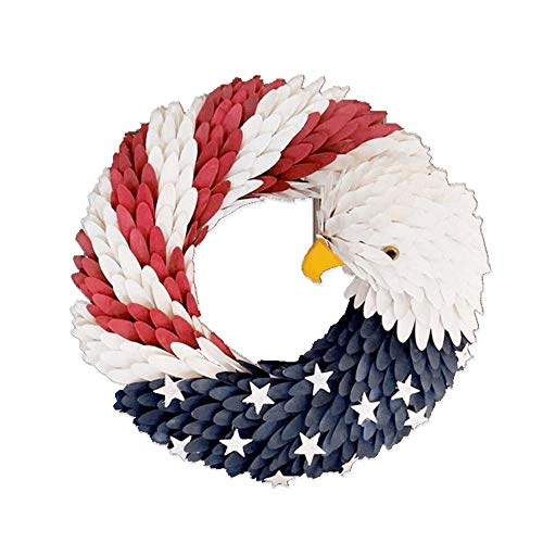LKHF American Eagle Wreath, Handcrafted Americana Patriotic Wreath USA July 4th Wreath, American Flag Wreath Garland Floral Door Wreath for Front Door Decor Election Vote President Dia.38cm