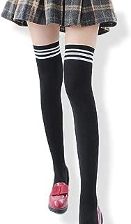 [Arunreas] ニーハイ ソックス コスプレ コスチューム ハイソックス 通勤 通学 女子高生 JK 制服 セーラー服 靴下 女子 ストッキング ライン 入り (ブラック)
