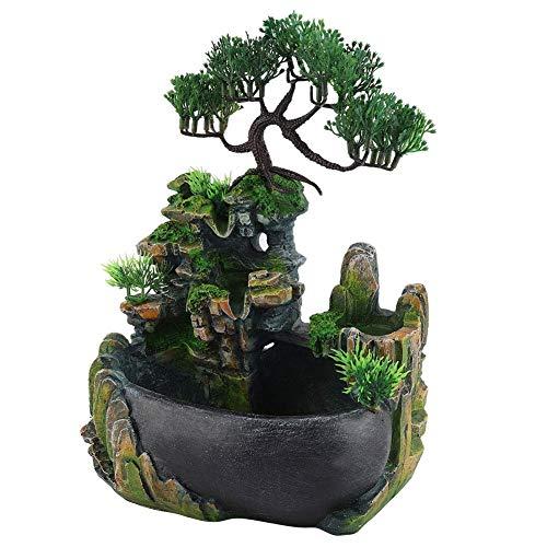 AUNMAS Fuente de Escritorio en Cascada, rocalla pequeña Zen Meditación Cascada Decoración de Escritorio